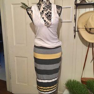 Bobeau Skirt -S Stretch Skirt  , striped gray